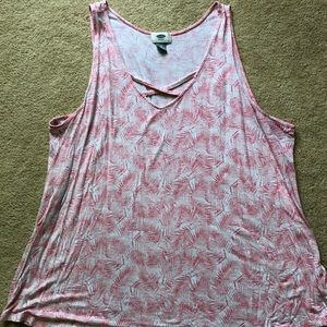 Pink feather tank top